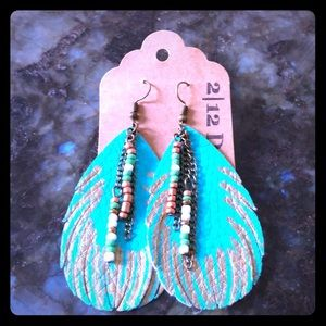 Turquoise Beaded Feather Leather Boho Earrings NWT